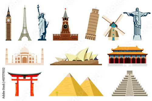 Plagát World Landmarks. Vector