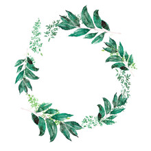 Laureate Wreath In Trendy Watercolour Style With Green Splashing. Laurel Wreath Branches For Wedding Card. Template Wedding Invitation. Bay Leaf Garland Illustrations. Bays For Cooking Class Banner.