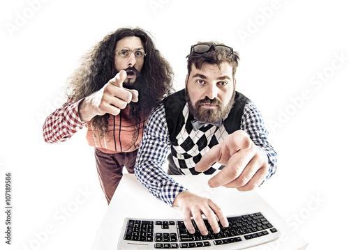 Printed kitchen splashbacks Artist KB Two hilarious nerds staring at the monitor
