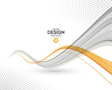 Abstract Vector Background, Gray And Orange Wavy
