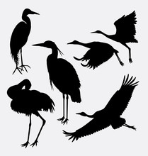 Stork, Heron, Egret, And Crane Bird Silhouette. Good Use For Symbol, Web Icon, Logo, Mascot, Or Any Design You Want. Easy To Use.