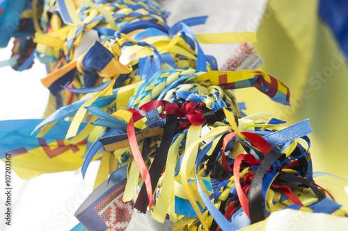 Fotobehang Paradijsvogel yellow blue ribbon Ukrainian symbols