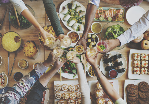 Fotografía  Eating Enjoy Food Festive Cafe Celebrate Meal Concept