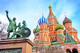 St. Basils cathedral and monument on Red Square in Moscow, Russia