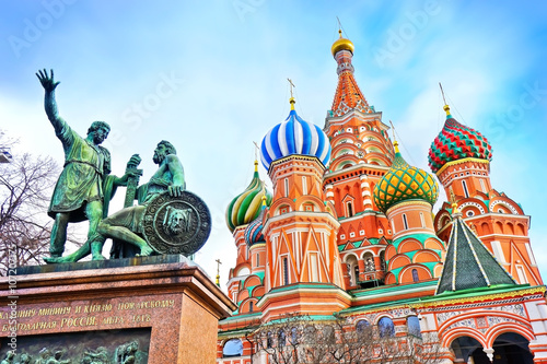 Photo  St. Basils cathedral and monument on Red Square in Moscow, Russia