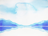abstract mountain hill, sky landscape watercolor painting - 107209309