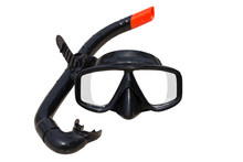 Diving Mask And Snorkel On Whi...