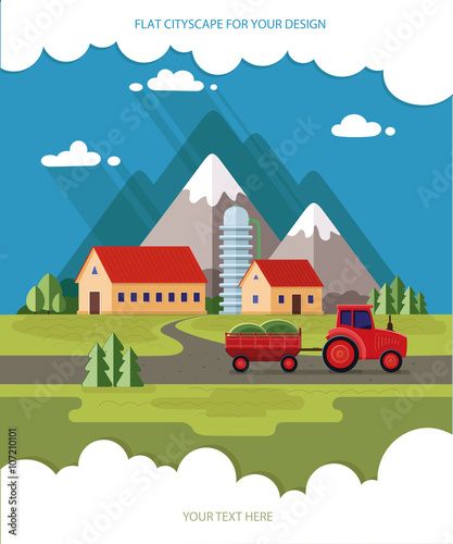 Photo Stands Turquoise Agricultural landscape. Red tractor on a farm background.. Flat