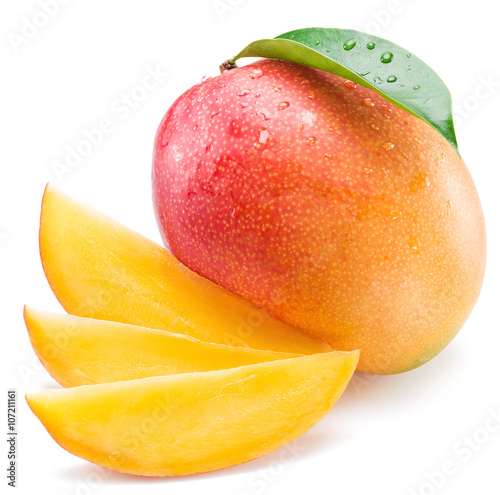 Mango fruit and mango slices. Isolated on a white background. Wall mural