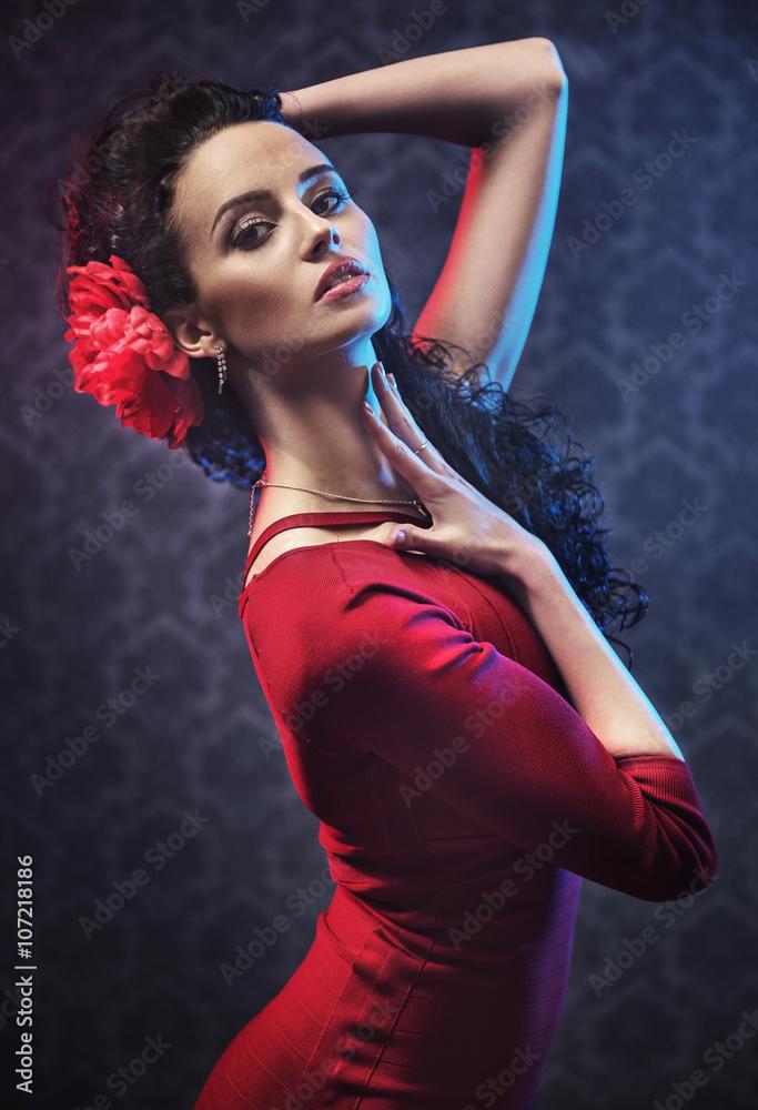 Fotografie, Obraz  Portrét krásné flamenco tanečnice