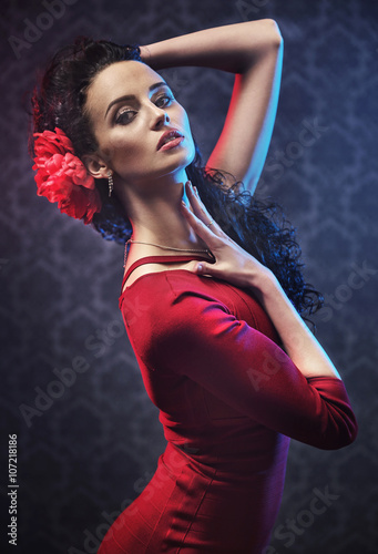 Portrait of a pretty flamenco dancer Plakat