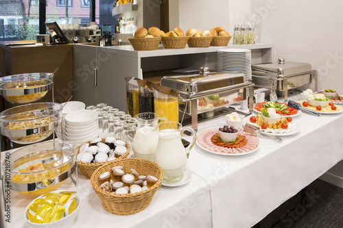 Breakfast buffet at hotel restaurant