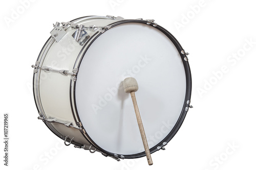 classic musical instrument big drum isolated on white background Fototapeta
