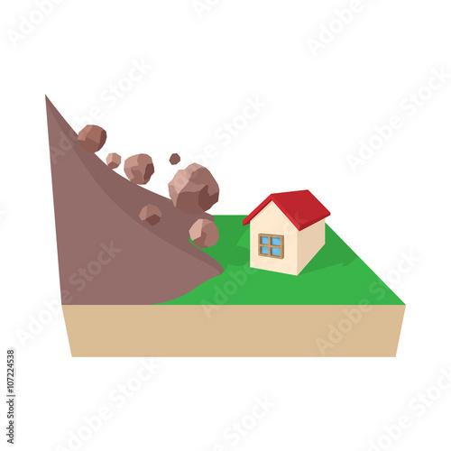 Fotografie, Obraz  House hit by rockfall icon, cartoon style