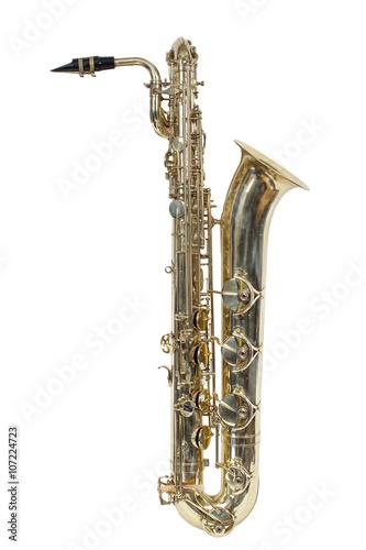 Photo classic brass musical instrument baritone saxophone isolated on white background