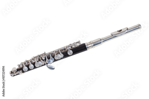 Fotografía classical wind musical instrument Flute-Piccolo isolated on white background