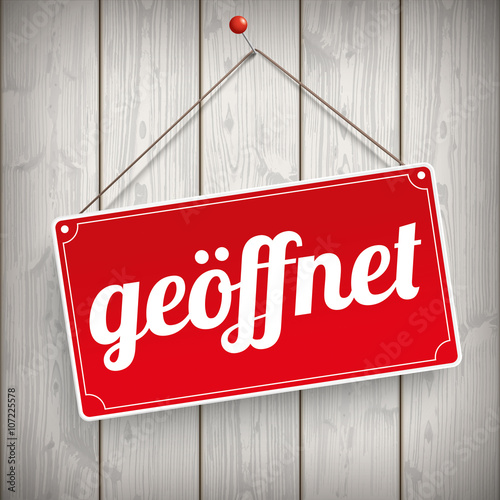 Fotografering  Sign Wooden Background geoeffnet