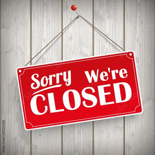 Valokuva  Sign Wooden Background Closed