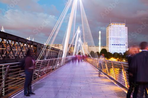 Foto op Canvas Rotterdam 30. 07. 2015, LONDON , UK, London at dawn. View from Golden Jubilee bridge