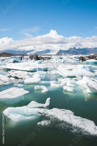 Jokulsarlon ice lagoon, view to the glacier in Vatnajokull National park, Iceland