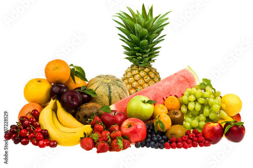 Staande foto Vruchten mixed tasty fruit composition set isolated on white