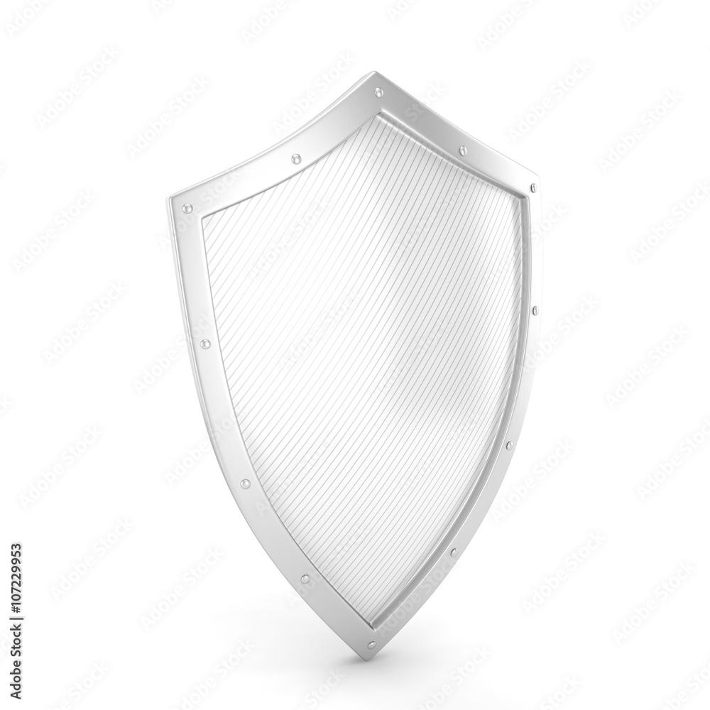 Fototapeta shield icon on white. 3d rendering.