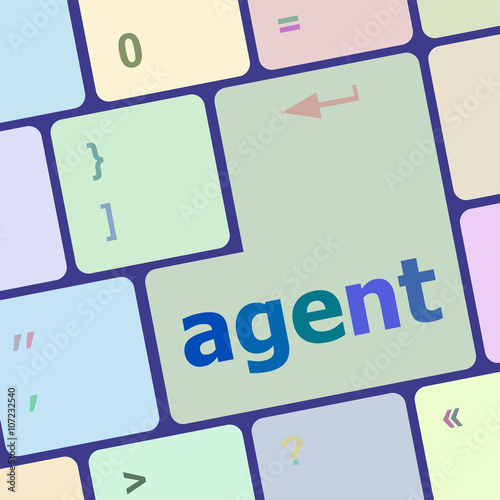 agent button on the computer keyboard vector illustration