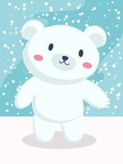 FototapetaA little polar bear cartoon standing in snow day.