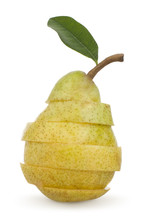 Cut Yellow Pear With Leaf With Slice Isolated On White
