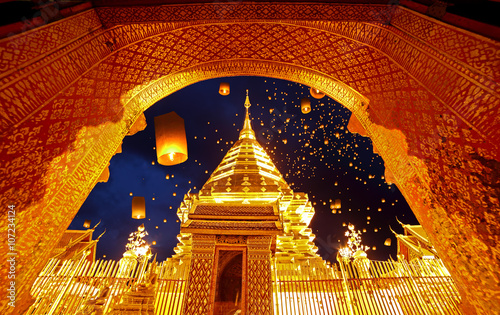 Fotoposter Temple Night view Doi Suthep Chiang Mai, Thailand