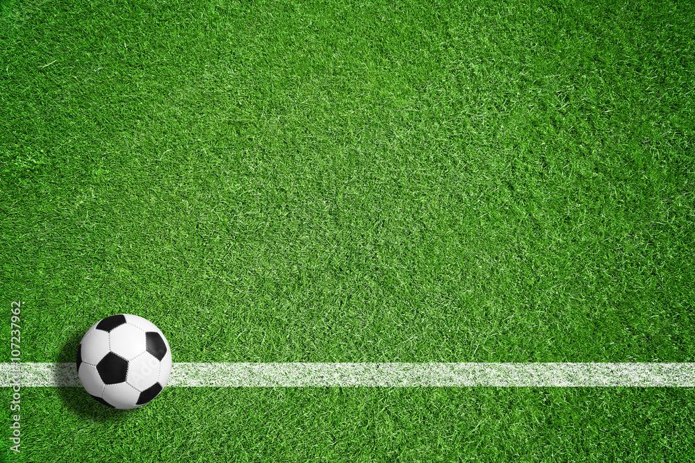 Piłki nożnej piłka na zielonym gazonie z marżą