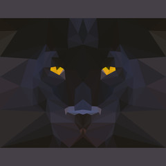 Fototapeta Pantera Wild black panther stares forward. Abstract geometric polygonal card template