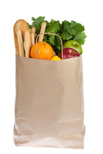Shopping Paper Bag With Fruit Vegetable Bread Isolated On White