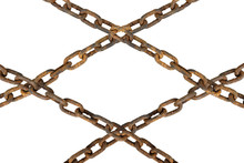 Old Iron Rusty Chain Isolated On White Background