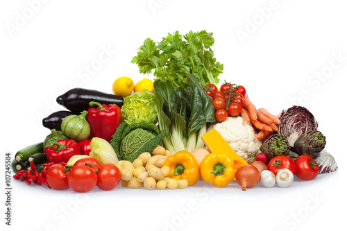 Staande foto Groenten colored ripe tasty vegetable composition set isolated on white