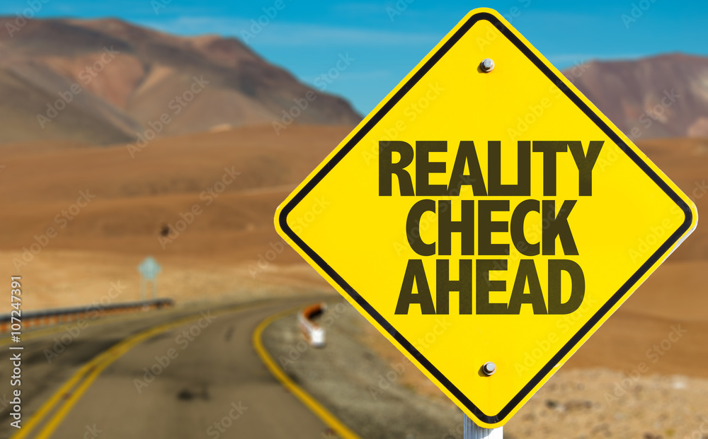 Fototapeta Reality Check Ahead sign on desert road