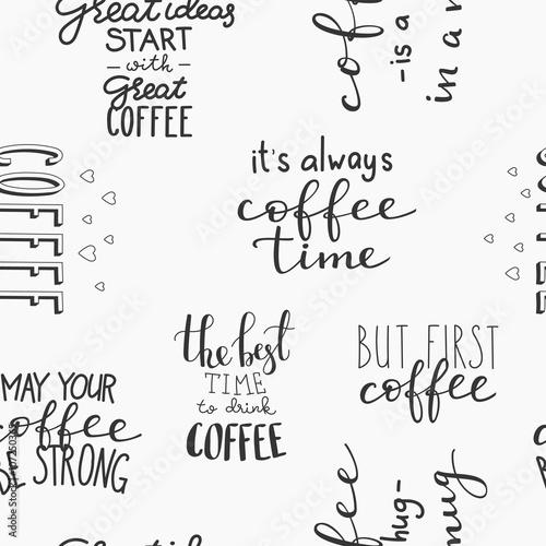 Tapety z jedzeniem i napojami cytat-wektor-wzor-kawy-bez-szwu