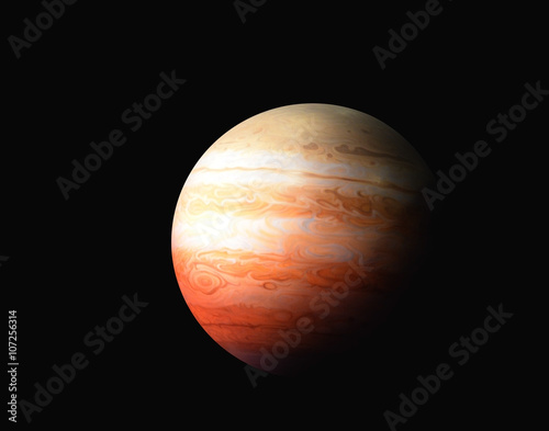 Fotografie, Obraz  Planeta Jupiter na černém pozadí, s vysokým rozlišením Prvky tohoto snímku zaříz