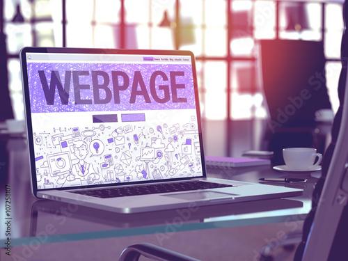 Fotografie, Obraz  Webpage - Closeup Landing Page in Doodle Design Style on Laptop Screen