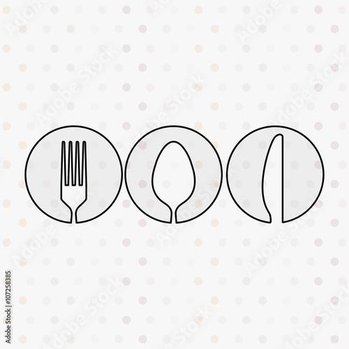Foto op Plexiglas Retro sign kitchen utensils design