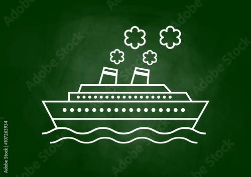 Passenger ship drawing on blackboard Fototapeta