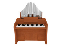 Wooden Organ Instrument Isolated