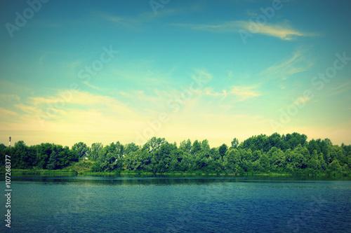 Poster Lac / Etang Beautiful summer landscape