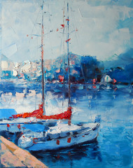 FototapetaArt Oil Painting Picture Yachts berthed in Italy