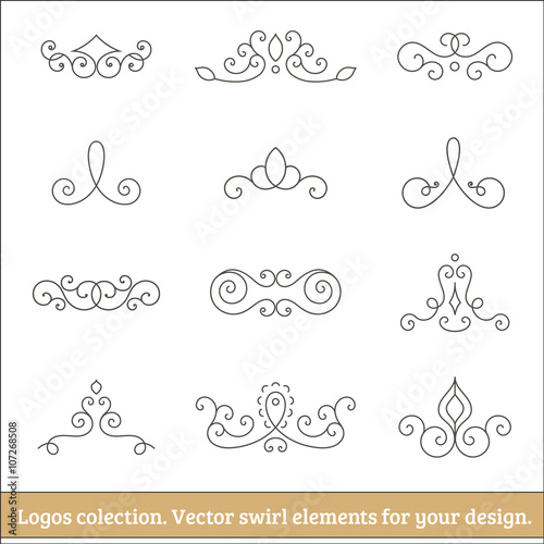 Photo  Floral logos collection. Swirl elements for design. Thin line.