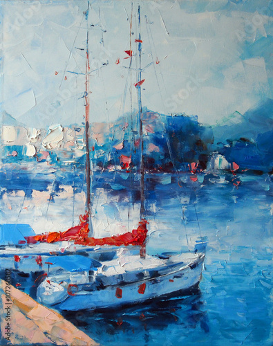 Art Oil Painting Picture Yachts berthed in Italy