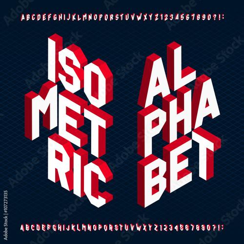 Czcionki 3D izometryczny alfabet wektor. Litery i cyfry. Trójwymiarowy wektor typografii dla swojego projektu.