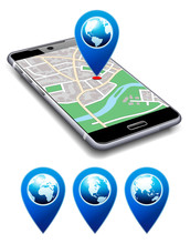 You Are Here - Phone With Map Pointer Icon Cell Smart Mobile