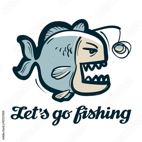 anglerfish vector logo. fishing, angling or fish icon Canvas Print