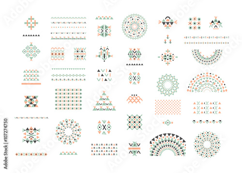 Cute Collection of Ethnic patterns. Geometric and aztec decor Wallpaper Mural